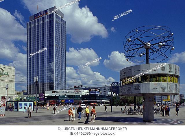 Alexanderplatz square with world clock, Park Inn Hotel, Galleria Kaufhof departement store, Mitte district, Germany, Europe