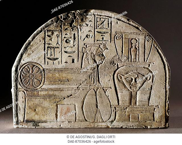 Painted limestone stela dedicated to the goddess Hathor, from Deir el-Medina. Egyptian civilisation, New Kingdom (XIX Dynasty), 13th century BC