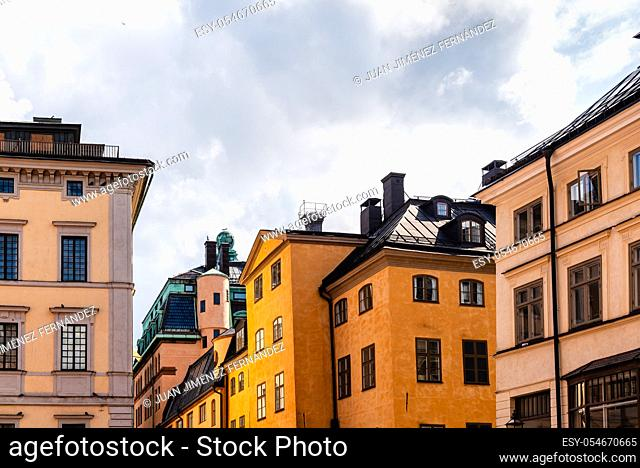 Low angle view of old buildings in Gamla Stan, the Old Medieval Town of Stockholm