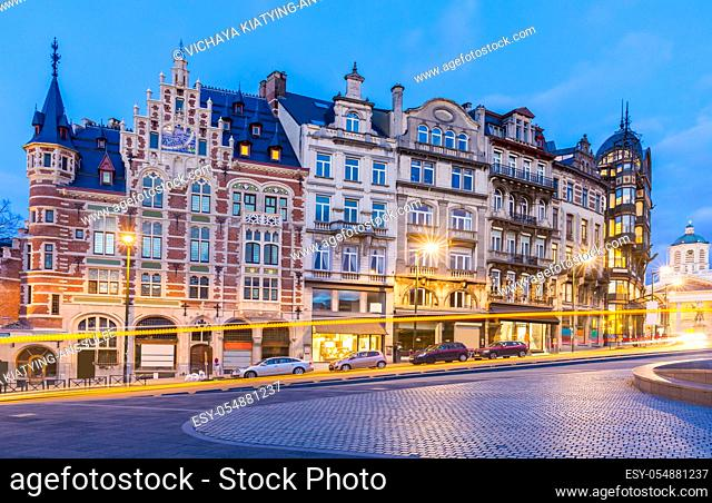 Architecture of Brussels Cityscape old town builduing skyline in Brussels downtown Belgium Benelux Eu. EU Begium city landmark and shopping center for tourism...