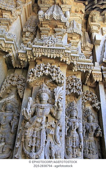 Decorative wall molding frieze and deity sculpture in the Chennakesava Temple, Hoysala Architecture , Somanathpur, Karnataka, India