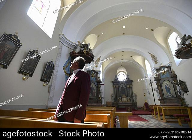 Priest Marian Kalina in the church in the village of Moravska Nova Ves on Sunday, June 27, 2021, after he celebrated a holy mass in a garden