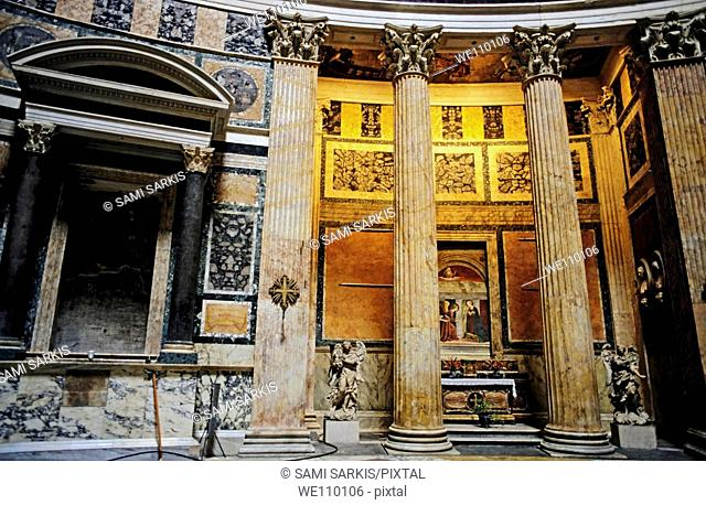 Statues, ornate columns and paintings inside the Pantheon, Rome, Italy