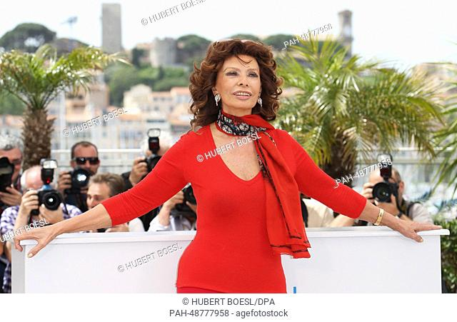 Italian actress Sophia Loren attends a photocall of the movie 'Voce Umana' at the 67th Cannes International Film Festival, in Cannes, France, 21 May 2014
