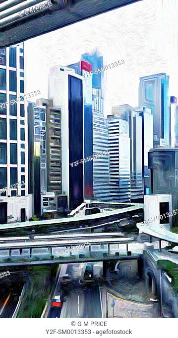 expressionist filter view of office buildings, Hong Kong, China