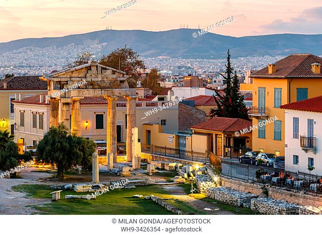 Athens, Greece - November 09, 2019: Remains of Roman Agora in the old town of Athens, Greece