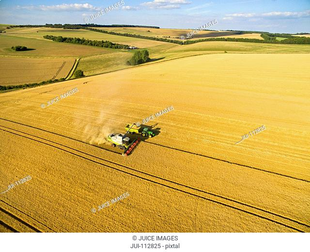 Aerial landscape view of combine harvester filling tractor trailer in sunny golden barley field