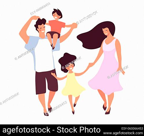 Flat icon of happy family with son and daughter. Dad and mom are walking with children and hugging, vector illustration isolated on white background