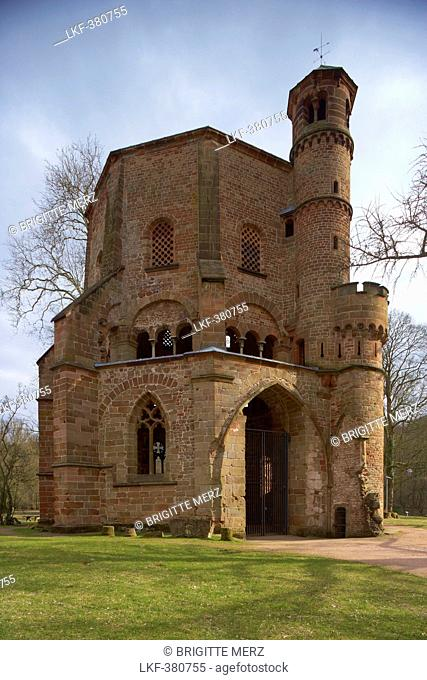 Old tower in the park of the old abbey, adventure center Villeroy & Boch, Mettlach, Saarland, Germany, Europe