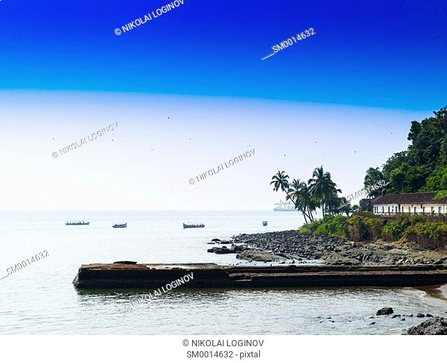 Horizontal vivid Indian beach quay with birds landscape background backdrop