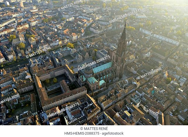 France, Bas Rhin, Strasbourg, old town listed as World Heritage by UNESCO, Notre Dame Cathedral (aerial view)