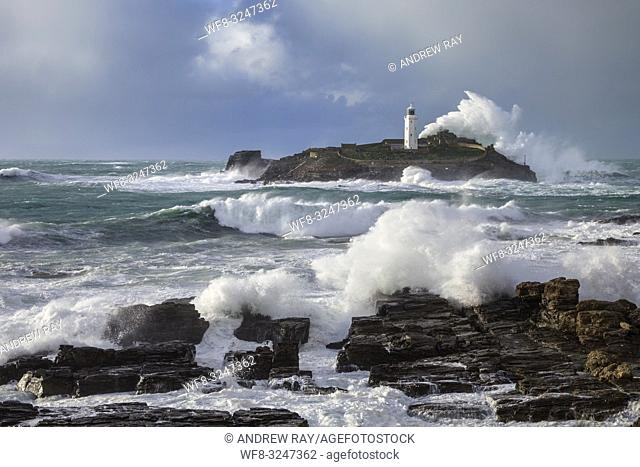 Godrevy Lighthouse on the eastern side of St Ives Bay in Cornwall, captured on a stormy afternoon in late February