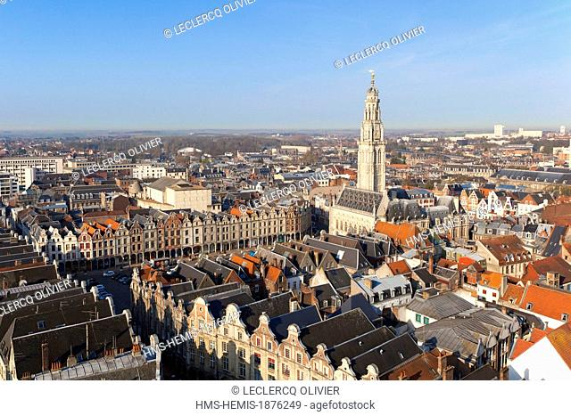 France, Pas de Calais, Arras, Place des Heros, Town Hall topped with its 77 meters belfry listed as World Heritage by UNESCO (aerial view)