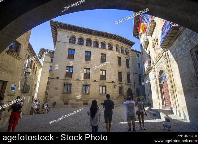 Sos del Rey Catolico village in Cinco villas Zaragoza province Aragon Spain on August 22, 2020 renaissance architecture in the town hall palace