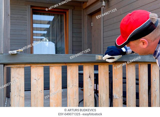 Painting terrace railings, home improvement, garden works