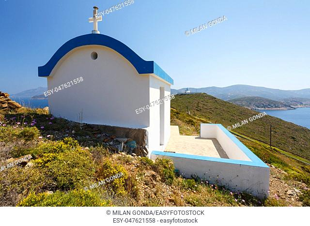 Small church near Thymaina village in Fourni Korseon, Greece.