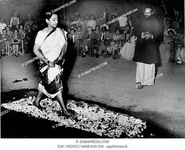 Mar. 27, 1952 - New Delhi, India - SWAMI SEEWANAND, a 39 year-old Yogi, is astonishing his own country with his feats. He thinks nothing of eating a live...