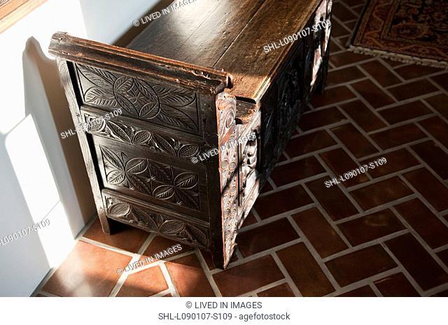 Antique wooden storage bench