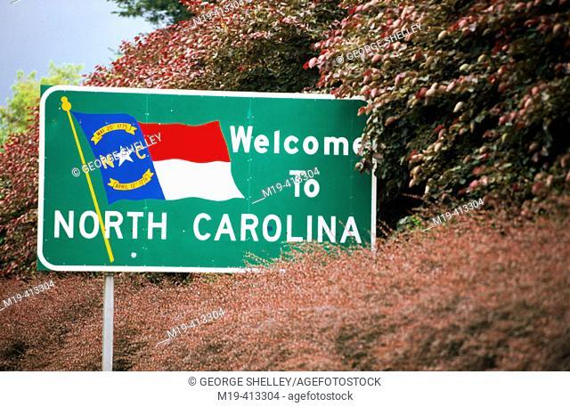 North Carolina welcome sign, USA
