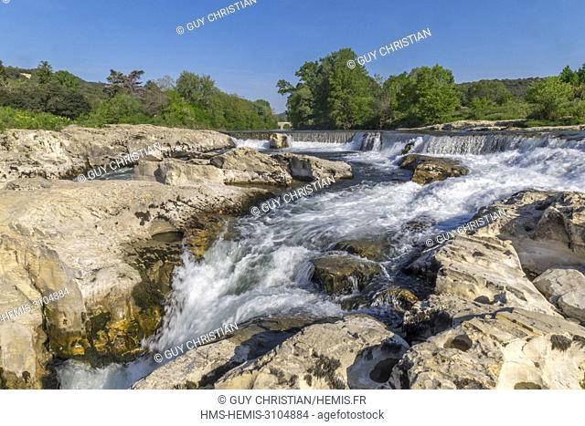 France, Gard, La Roque sur Ceze, labelled Les Plus Beaux Villages de France (The Most Beautiful Villages of France), the Cèze and the Sautadet waterfalls