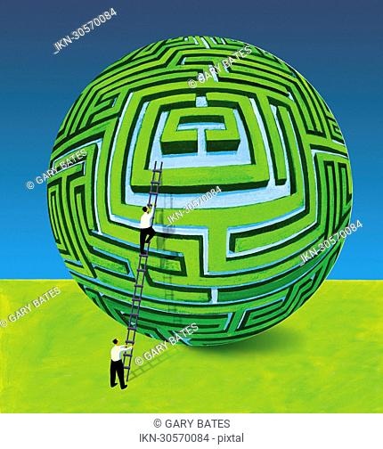 Businessman supporting colleague on ladder at spherical maze