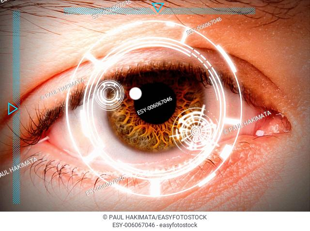 Futuristic biometric scan of the eye iris for security and high level clearance