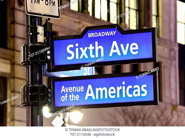 Public sidewalk street sign, Herald Square, 34th Street, Six Avenue, Avenue of the Americas, Broadway, Midtown Manhattan, Broadway, New York City, USA