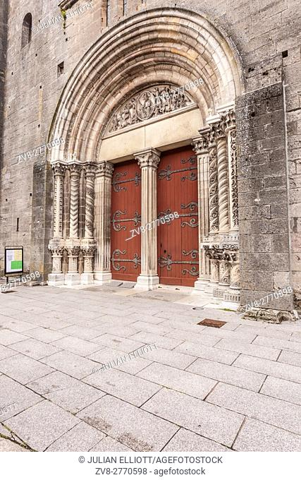 The entrance to Saint Andoche basilica in the small town of Saulieu, France