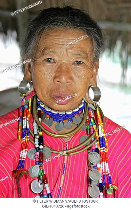 Beautiful old woman of the Black Karen tribe The black teeth have been caused by constant chewing of betelnut Chiang Rai regio