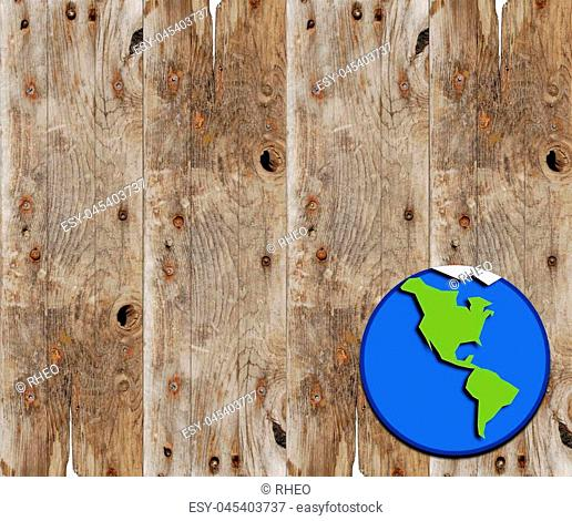 Cartoon planet earth on wood plank background with copy space perfect for environmental sign or poster