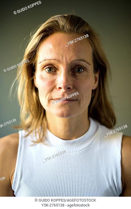 Tilburg, Netherlands. Studio portrait of a mid adult caucasian woman