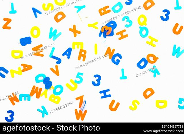 Colorful letters and the word learning on white background, learning or study concept various colors