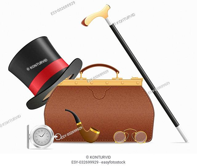 old valise and retro mens accessories illustration isolated on white background