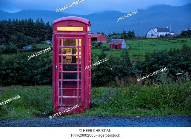 Scotland, Hebrides archipelago, Isle of Skye, Old phone booth