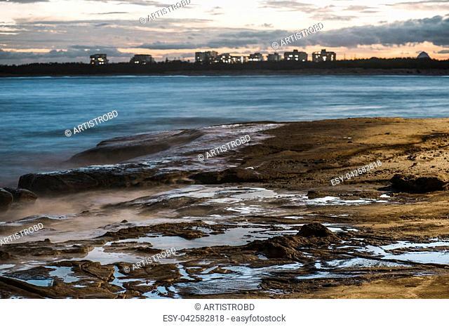 Beach scene at Kings Beach in the Sunshine Coast, Queensland