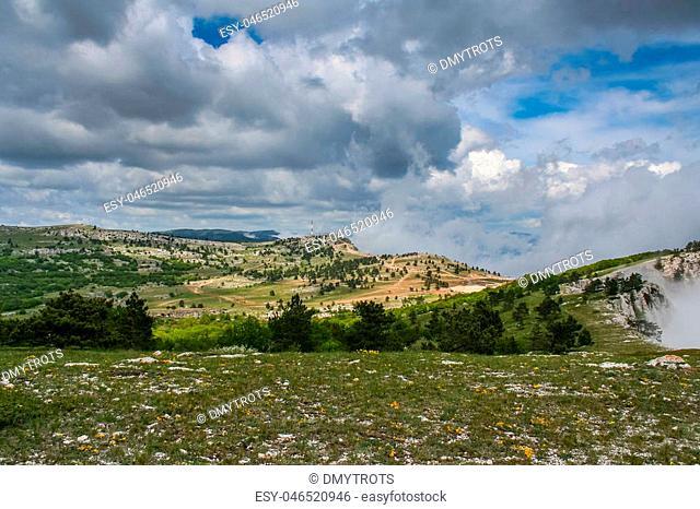 The mountain plateau at the top of Ai-Petri. Crimea, Ukraine. May 2008