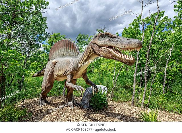 Spinosaurus at Dinosaurs Alive, life-size animatronic dinosaur, Assiniboine Park Zoo, Winnipeg, Manitoba, Canada