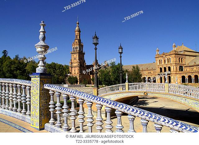 Seville (Spain). Plaza de España next to Maria Luisa Park in the city of Seville
