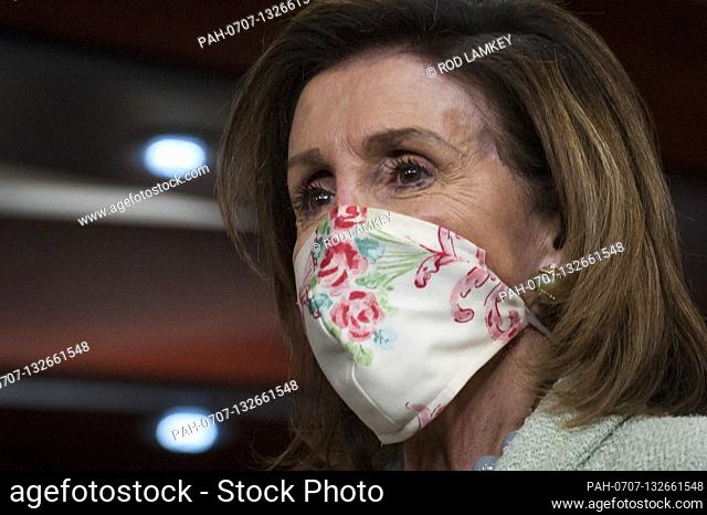 House Speaker Nancy Pelosi (D-Calif) attends a press conference on the Trump Administration's response to, and House Democrats' plan for COVID-19 testing in the...