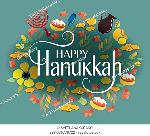 Happy Hanukkah logotype, badge and icon typography. Vector collection of elements for Hanukkah. Happy Hanukkah poster with flowers, coins, donuts and herbs