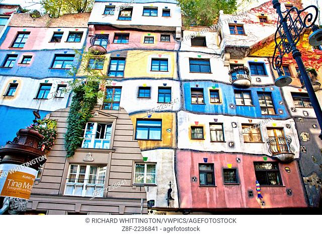 "Hundertwasserhaus (1985) is an apartment house built in the style following the """"Moldiness Manifesto"""" attributed the Austrian artist Friedensreich..."
