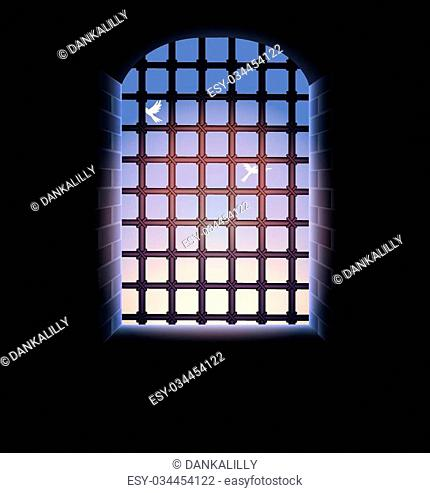 morning sky, birds, stone tunnel, window and large lattice, illuminated from the outside
