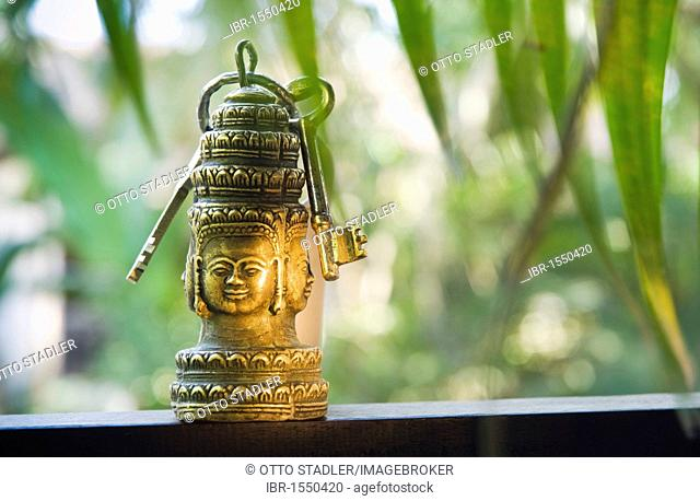 Key ring in the shape of the Bayon Temple, Angkor, Siem Reap, Cambodia, Indochina, Southeast Asia, Asia