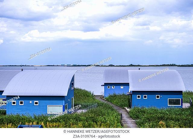 Blue houses in Lauwersoog, Groningen, The Netherlands, Europe