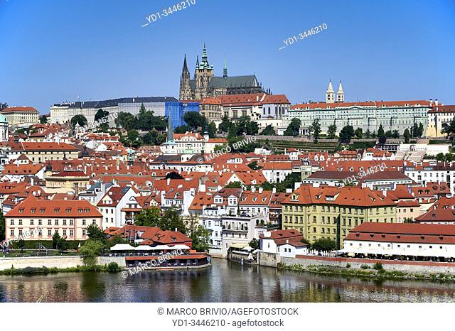 Prague Czech Republic. View of the old town and the castle
