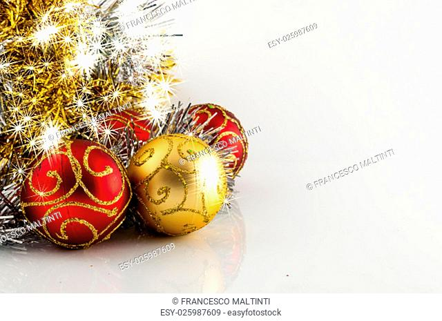 Christmas decoration, red gold and silver, on white background