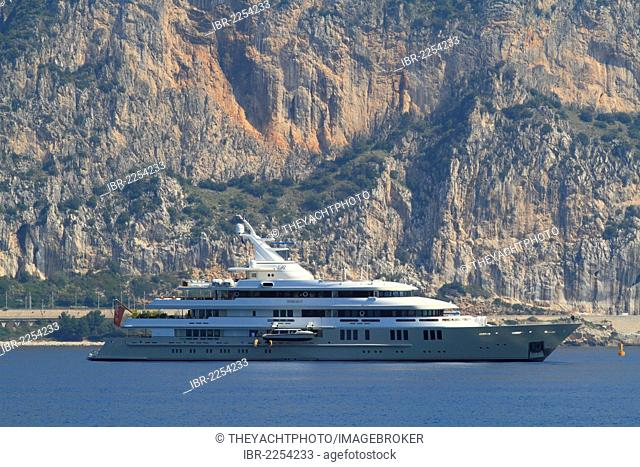 Motor yacht Reborn, built by shipyard Amels Holland in 1999, length 75.5 metres, at Cap Ferrat or Cape Ferrat on the Côte d'Azur, France, Mediterranean, Europe