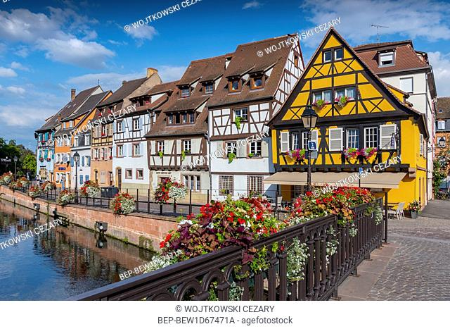 View of the historic town of Colmar, also known as Little Venice, with traditional colorful houses near by the river Lauch, Colmar, Alsace, France