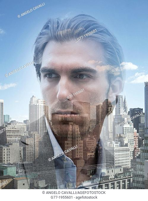 Businessman over cityscape. New York, USA