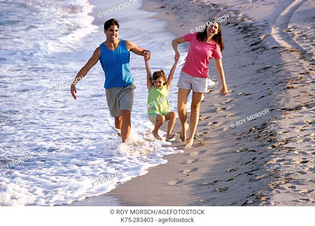 family strolling at beach